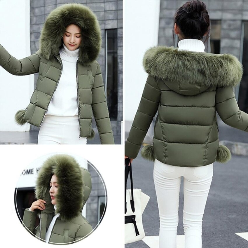 2017 Fashion Women Coat Jacket Parka Short Fur Collar Hooded Down Cotton Winter - Army Green - intl