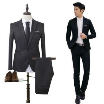 2017 High Quality Business and Leisure Suit Two-piece Suit The Groom's Best Man Wedding Blazer Suit - intl