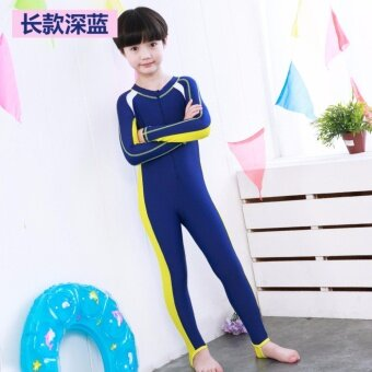 2017 New Children Swimsuit Piece Long Sleeve Swimsuit Boys and Girls Swimsuit Blue - intl