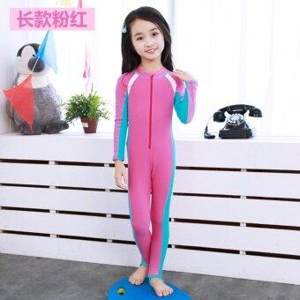 2017 ชุดว่ายน้ำเด็กใหม่ชุดว่ายน้ำแขนยาวชุดว่ายน้ำเด็ก ชุดว่ายน้ำสีชมพู