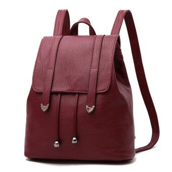 2017 Preppy Women Backpack Soild Black Red Female School Bags High Quality PU Leather Backpacks for Teenagers Girls Travel Purse - intl