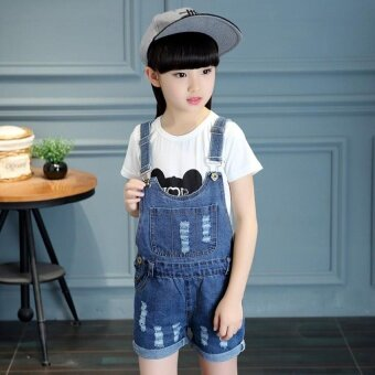 2017 Summer Big Girls Denim Strap Shorts Children's Cute CoolFashion Denim Jumpsuit - intl - 2