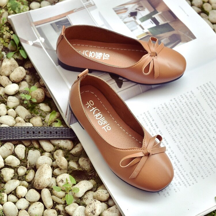 2017 Summer New Small Girls' Autumn Bow-tie Small Leather Shoes to Perform Dance Shoes with a Single Shoe Brown - intl