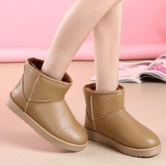 2017 Winter New cashmere Snow Boots Women Boots Thickening Non-slip Short boots Womens boots Flat Warm Students Shoes Ready Stock Brown - intl