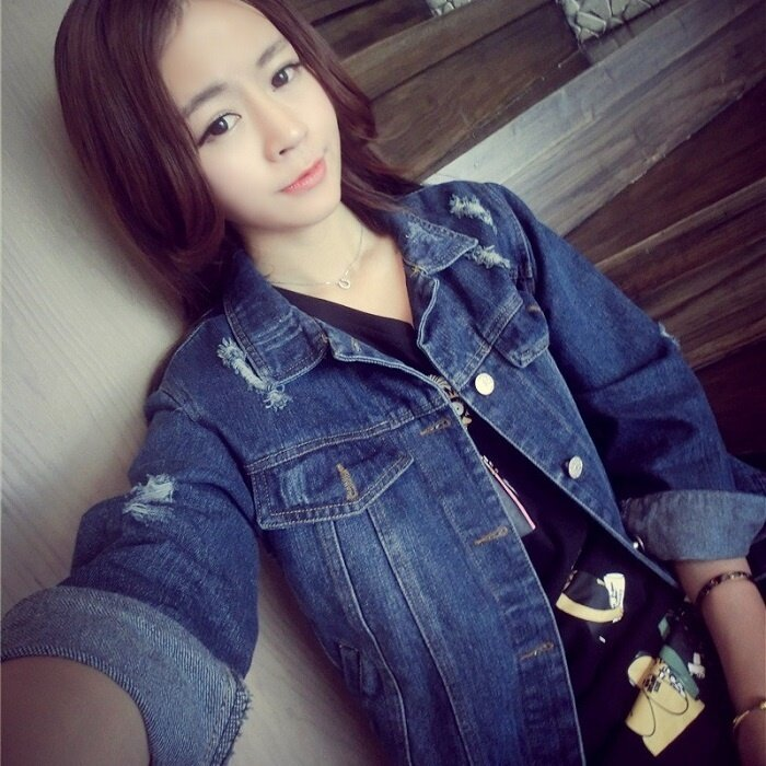 2017 Women Basic Jacket Spring Autumn Denim Vintage Long Sleeve Coats Loose Female Jeans Casual Girls Outwear - intl