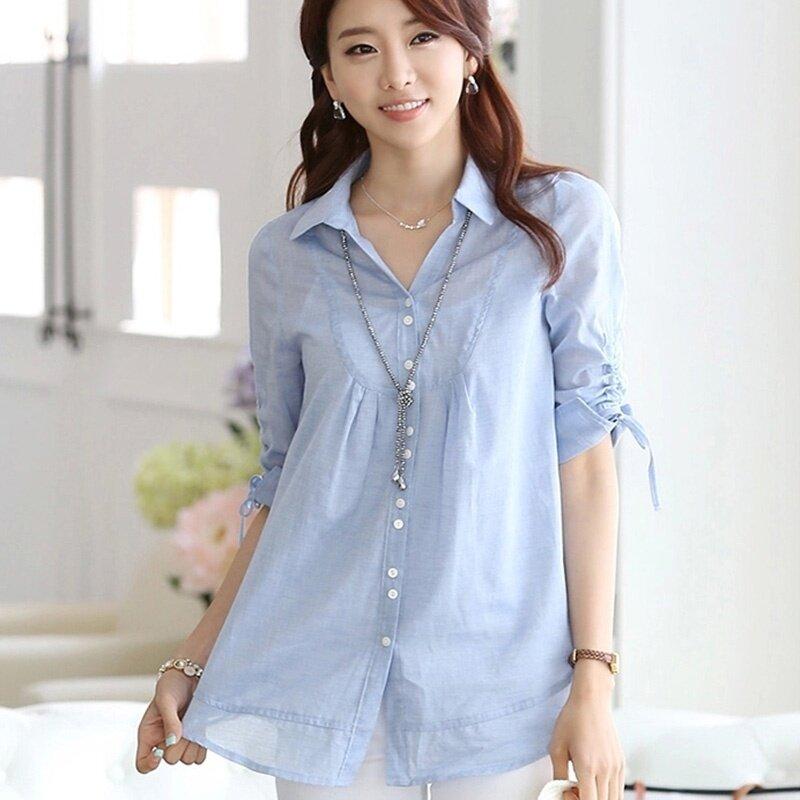 เสื้อเกาหลีหญิงเสื้อป่านางสาว (2071 สีฟ้า)