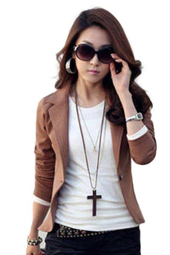 2558 Fancyqube ทันสมัยเพรียวสง่างามสตรีคอเสื้อแขนเสื้อยาวคลุมปุ่มหนึ่งหญิงเสื้อนอกเบลเซอร์สูทแจ็คเก็ตสั้นหญิง Coffe
