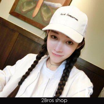 2Bros หมวกแฟชั่นสไตล์เกาหลี Fu*k Tormorow สีขาว