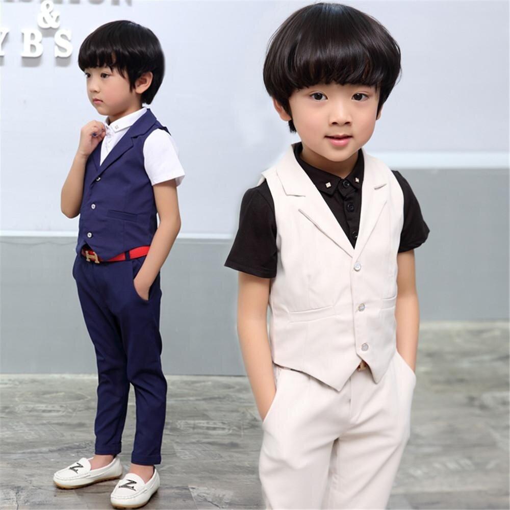 ชุด 2pcsชุดสูทสำหรับเด็กชายชุดพรหมงานแต่งงานชุดเด็กผู้ชายเสื้อกั๊กกางเกงสีฟ้า