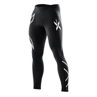 Men Compression Fitness Tights Pants กางเกงรัดกล้ามเนื้อ ลาย2XUสีเงิน