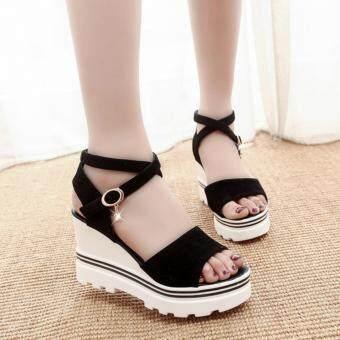 รองเท้าส้นเตารีดรุ่นรัดไขว้ข้อเท้า(ส้นสูง3นิ้ว)สีดำ