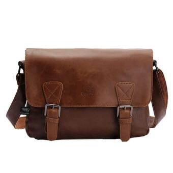 360DSC กระเป๋าธุรกิจลำลองหนัง PU ของผู้ชายแบบสะพายไหล่ กะรเปป๋าสะพายข้าง กระเป๋าส่งเอกสารสะพายไหล่ - สีกาแฟอ่อน