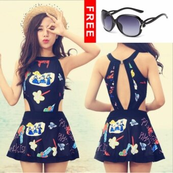 3PC / SET 2017 New Fashion Sexy Retro Graffiti Beach Casual Bikini Swimsuit Set - intl-Black