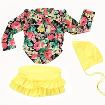 3pcs Little Girls Floral Sun Protection Swimsuit Set Swimwear for Girl 2-14 Years Old (Yellow) - intl - 2