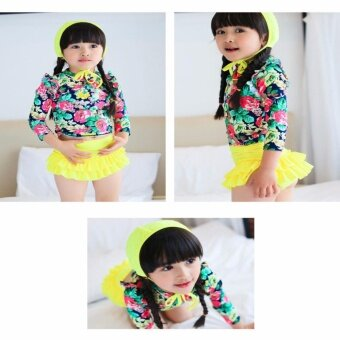 3pcs Little Girls Floral Sun Protection Swimsuit Set Swimwear for Girl 2-14 Years Old (Yellow) - intl - 4