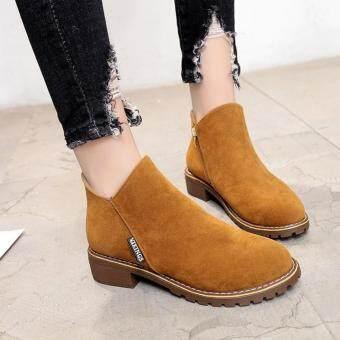 รองเท้าบูท รองเท้าสำหรับผู้หญิง รองเท้าบูทหนัง หุ้มข้อ ส้นสูง 4 ซม.