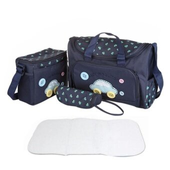 4PCS Set High quality Waterproof Mummy Nursing Baby Diaper Nappy Changing Messenger Bag 600D Oxford Cross-body Handbag With Handle Diaper Pad and Milk Water Feeding Bottle Storage Pouch Royal Blue Car - intl