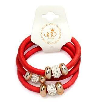 555jewelry ยางรัดผม แฟชั่น สไตล์เกาหลี ประดับ เพชรCZ รุ่น MNC-RB03(แพ็ค3ชิ้น)