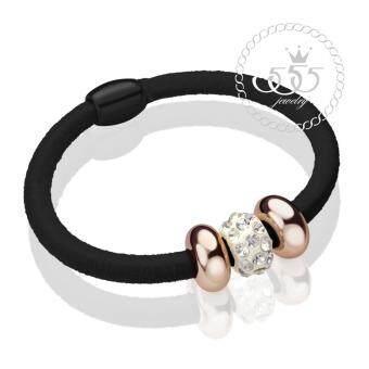 555jewelry ยางรัดผม แฟชั่น สไตล์เกาหลี ประดับ เพชรCZ รุ่น MNC-RB04(แพ็ค3ชิ้น)