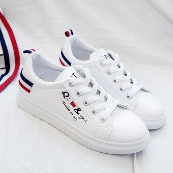เกาหลีฤดูใบไม้ร่วงใหม่แบนรองเท้าผู้หญิงรองเท้าสีขาว (รุ่นหญิง + สีแดง 570572)