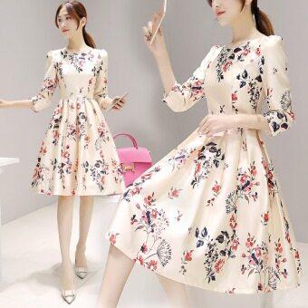 เกาหลีแขนสั้นพิมพ์กระโปรงชุด (5990 #)