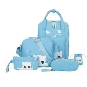 กระเป๋านักเรียน สไตล์ญี่ปุ่น 5in1 (สีฟ้าอ่อน)