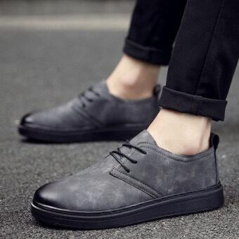 เกาหลีใหม่ในช่วงฤดูหนาวของผู้ชายผู้ชายลำลองรองเท้าหนัง (6622 (สีเทา))