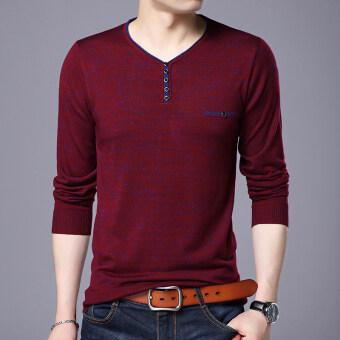 7729 1507293628 77889415 e3593afd31de7ff588db988c14408730 product ถูก ส่วนบางของชายหนุ่มคอวีฤดูใบไม้ร่วงเสื้อกันหนาวเสื้อยืด  7729 สีแดง