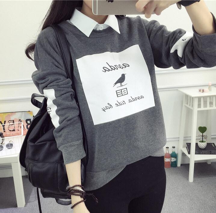 ออลจังเวอร์ชั่นเกาหลีสีสะกดแขนยาวลมเสื้อคอกลมเสื้อสวมหัวเสื้อกันหนาว (8039 สีเทา)