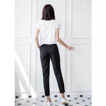 กางเกงขายาว 9 ส่วน ทรงกระบอกเล็ก ผ้า Poly+Spendex เอวยางยืด สีดำ ไซต์ S-3XL # 1002 - 3