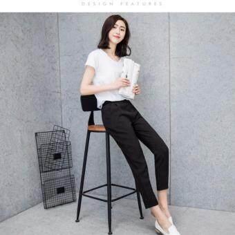 กางเกงขายาว 9 ส่วน ทรงกระบอกเล็ก ผ้า Poly+Spendex เอวยางยืด สีดำ ไซต์ S-3XL # 1002 - 2