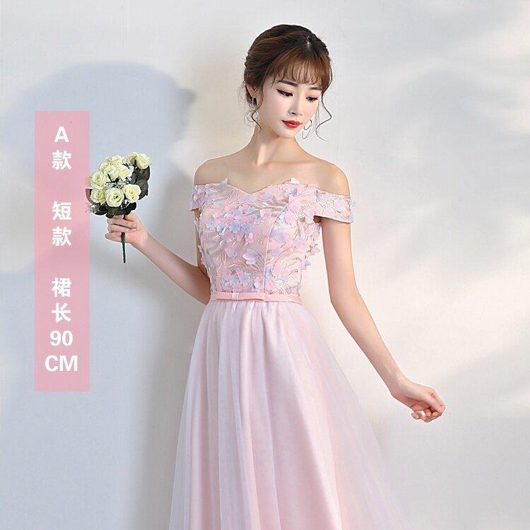 น้องสาวเกาหลีสีชมพูฤดูหนาวที่จัดเลี้ยงชุดราตรีชุดเพื่อนเจ้าสาว (A รุ่นย่อหน้าสั้นๆ)