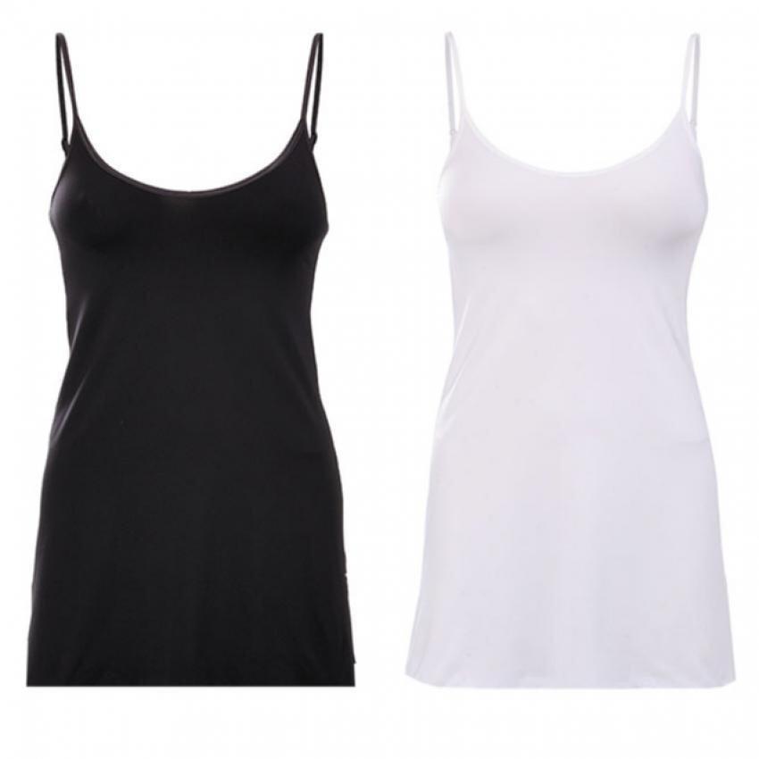 ชุดซับในแบบยาว เสื้อสายเดี่ยวแบบยาว สีขาว สีดำ ผ้าเกรด A ไซส์ L