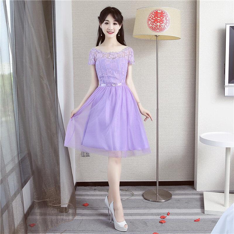 น้องสาวเกาหลีสีเทาเพศหญิงใหม่ขนาดเล็กชุดเดรสชุดเพื่อนเจ้าสาว (สีม่วง A4 แขนสั้น)