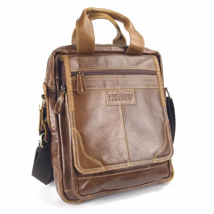 กระเป๋าสะพายหนังแท้เอกสารA4สีน้ำตาลแทนSfaffฝาหน้า