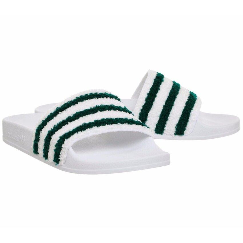รองเท้าแตะแบบสวม Adidas Adilette Sliders White Sub Green Towl