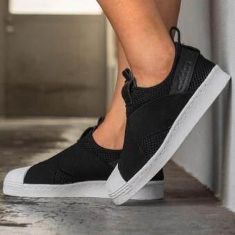 "Adidas รองเท้า สลิป ออน อาดิดาส Superstar slip on black"""