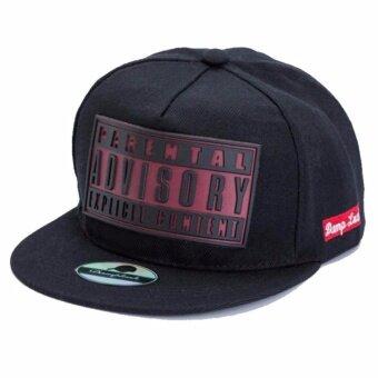 Advisory Cap สีดำ ลายแดงเข้ม หมวกแก็ปแนวเบสบอลฮิปฮอป ทรงเท่ห์เนื้อผ้าดี สวมใส่สบาย
