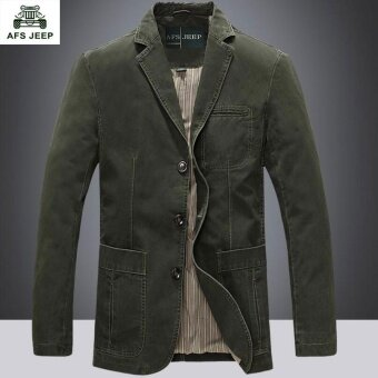 AFS JEEP autumn and winter men fashion casual cotton suit jacket(Green) - intl