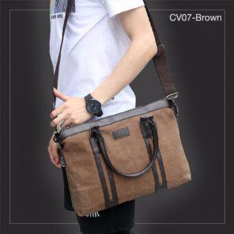 Allday CV07-Brown กระเป๋าถือผู้ชาย + สะพายข้าง ผ้าแคนวาส สีน้ำตาล กระเป๋าผู้ชาย