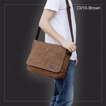 Allday CV10-Brown กระเป๋าสะพายข้าง ผ้าแคนวาส สีน้ำตาล กระเป๋าผู้ชาย