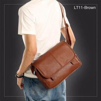 AlldayLT11-Brown กระเป๋าสะพายข้าง หนัง PU สีน้ำตาล กระเป๋าผู้ชาย