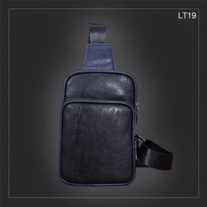 Allday LT19 กระเป๋าสะพายไหล่ กระเป๋าคาดอก หนัง PU สีดำ กระเป๋าผู้ชาย