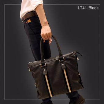 Allday LT41-Black กระเป๋าถือผู้ชาย + กระเป๋าสะพายข้าง กระเป๋าสะพายไหล่ หนัง PU สีดำ กระเป๋าผู้ชาย