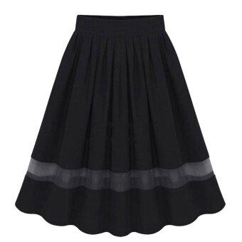 Amart Elegant Organza Silk Pleated Skirts Fabric Splicing Skirt -intl