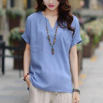 Amart Fashion Summer Women T Shirt Cotton Hemp Short SleeveV-Collar Casual Tops(Blue) - intl