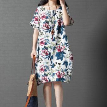Amoi เกาหลีผ้าฝ้ายส่วนยาวชุดสูทชุด (สีขาว)