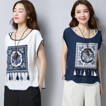 Amoi ลมชาติเสื้อสวมหัวเสื้อยืดเสื้อลำลองเสื้อยืด (น้ำเงิน)