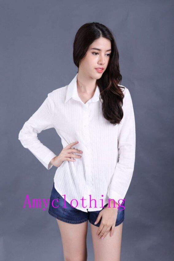 Amyclothing เสื้อเชิดคอปกลูกไม้A034(สีขาว)