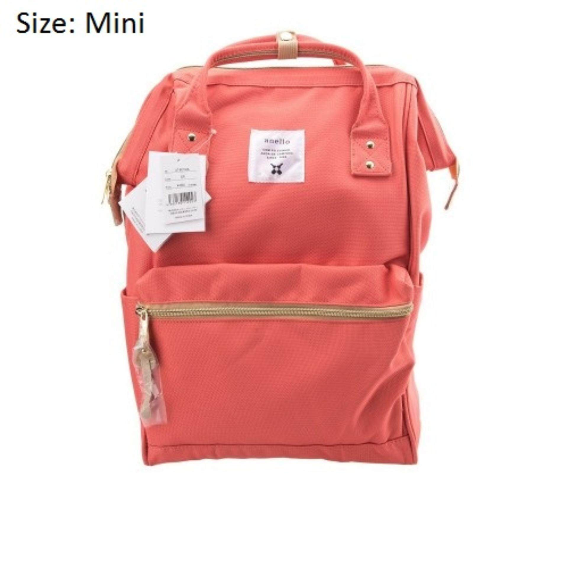 เชียงใหม่ กระเป๋าเป้ Anello Canvas Unisex Backpack Coral Pink (Mini Size) - Japan Imported 100%